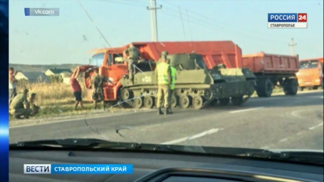 КамАЗ и БТР столкнулись вблизи Ставрополя