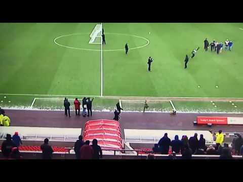 Newcastle fan at the Stadium of Light hits the crossbar then nutmegs a Sunderland fan!