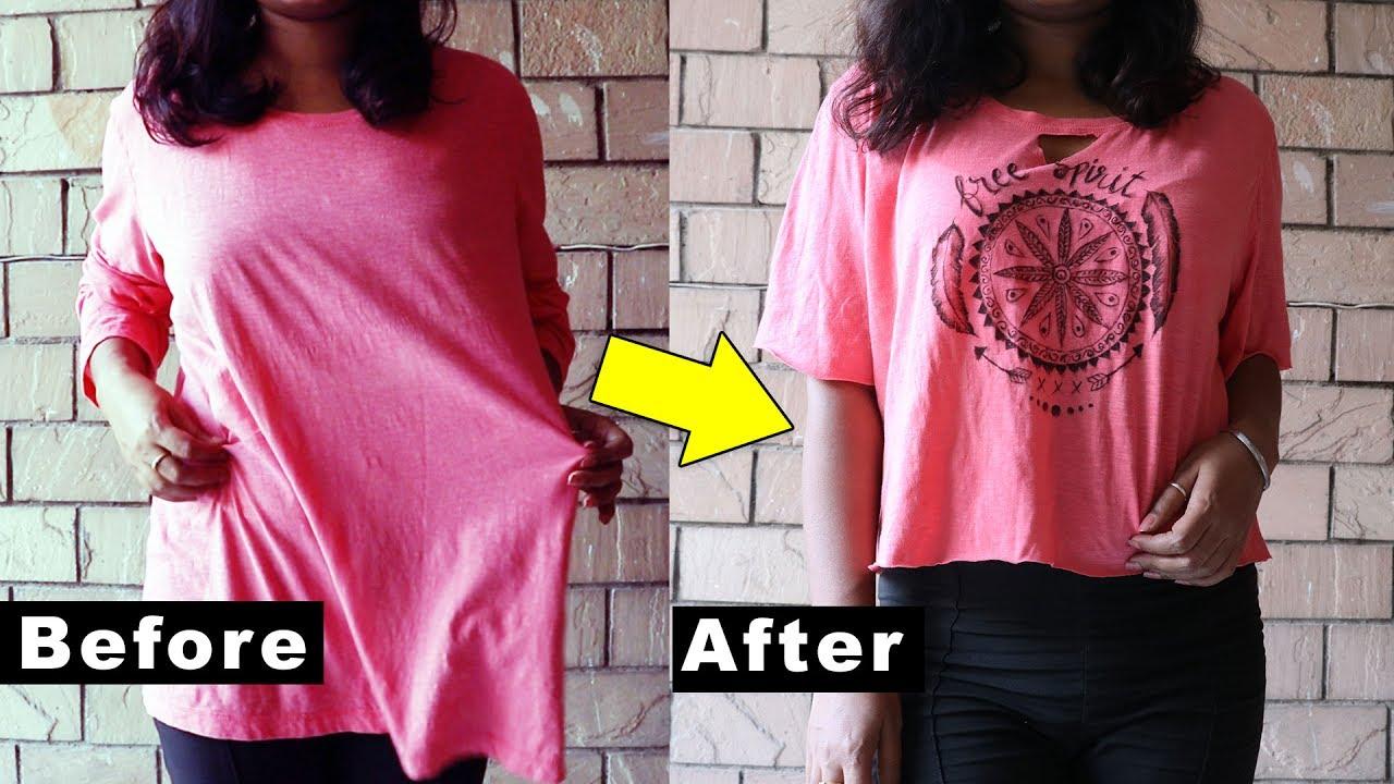 6c86d0e8e DIY MANDALA T-shirt   DIY Tshirt painting ideas for beginners   Boho Crop  Top
