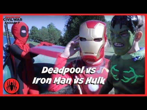 Little Heroes Kid Deadpool vs Iron Man vs Hulk In Real Life | Civil War Episode 7 | SuperHero Kids