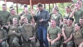 """London Has Fallen"" star Gerard Butler visits Camp Pendleton"