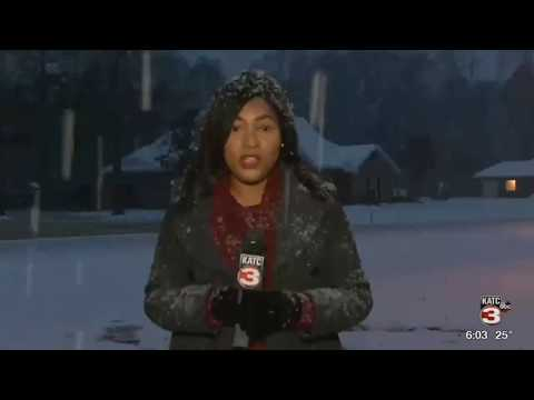 Snow falls across Evangeline Parish