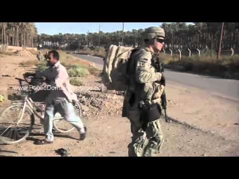 Patrolling streets of Baghdad Iraq War Archival Stock Footage