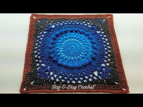 Learn How To Crochet 13″ Galaxy Granny Square Crochet Tutorial #415