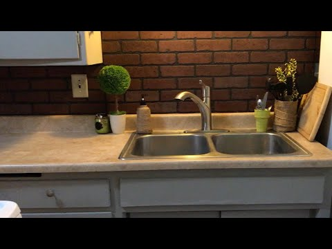 brick backsplash in kitchen white bench for table faux diy easy makeover youtube