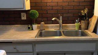 Faux brick backsplash | diy backsplash | easy kitchen makeover