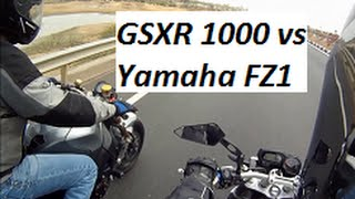 GSXR 1000 vs Yamaha FZ1 - Short Acceleration Video.