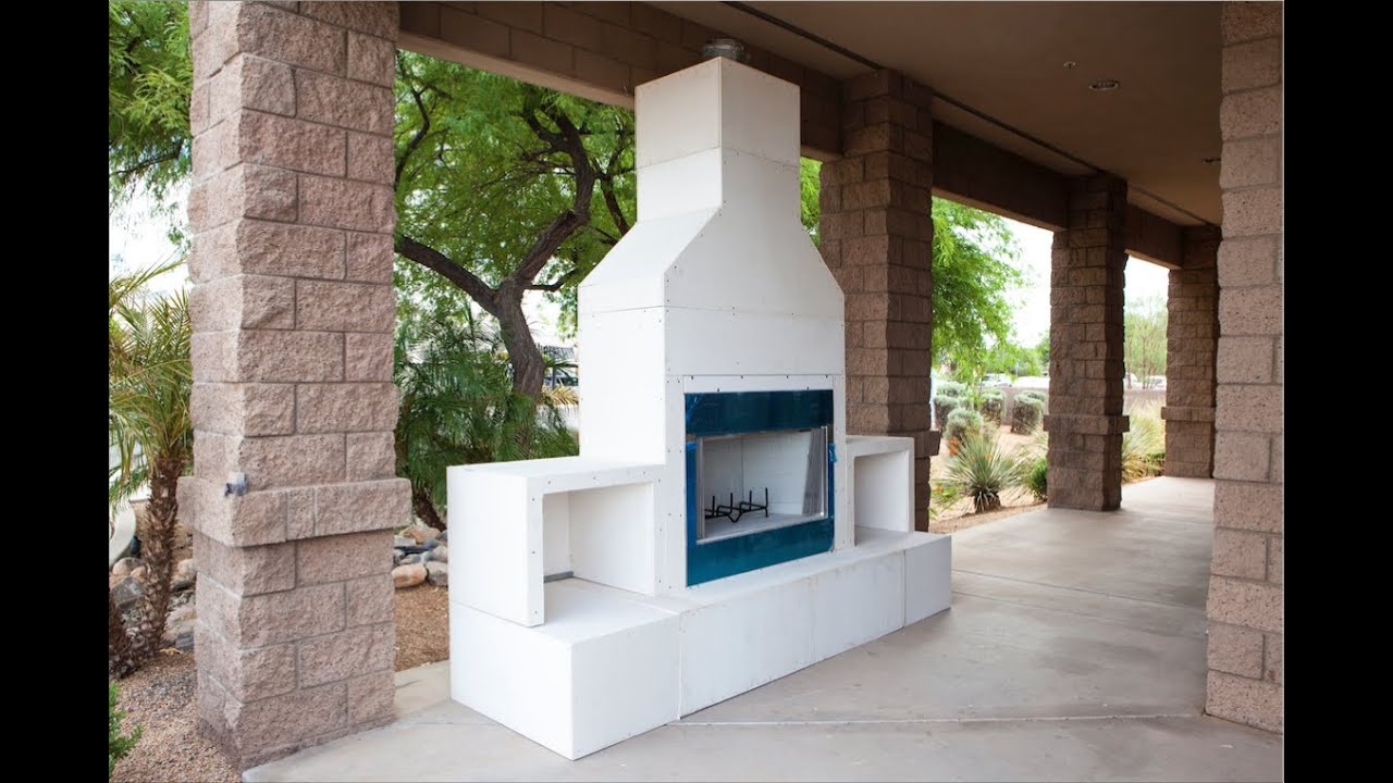 Rtf modular outdoor fireplace kit youtube for Prefab outdoor fireplaces