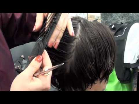 Haircutting Layer Haircut With Scissors Youtube