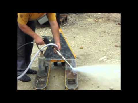 Wet Sandblasting With Dynaset Hpw200 Hydraulic Power
