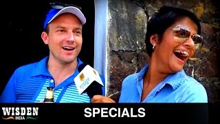 Yehali Sangakkara interviews an Australian fan of her husband for Wisden India in Galle