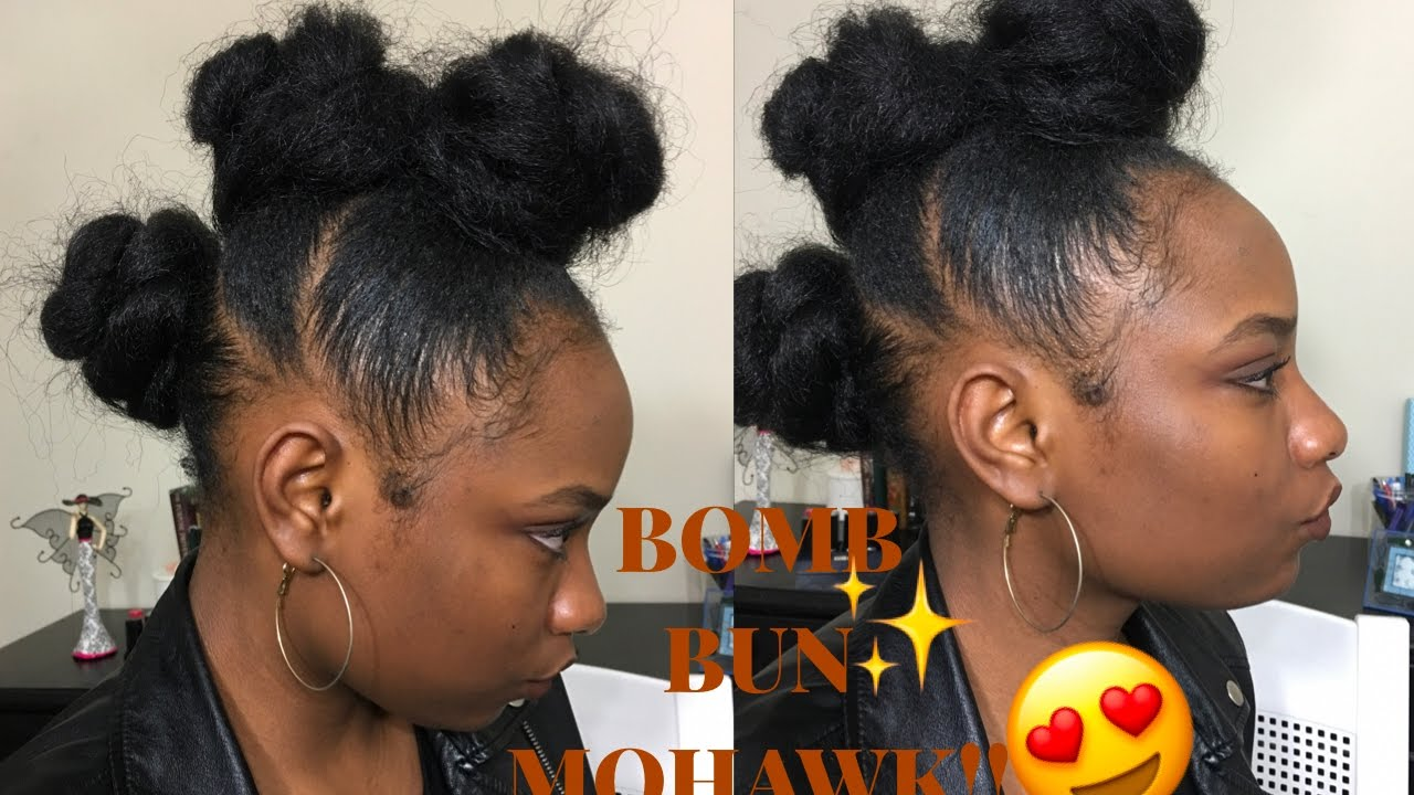 Super Easy Bun Mohawk Updo On Short Natural Hair Using Braiding