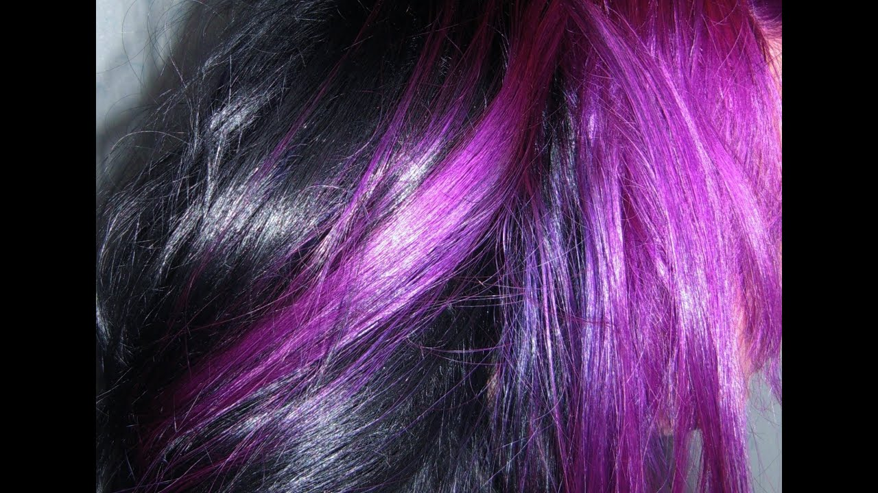 Dying my hair Purple & Black - YouTube
