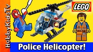 LEGO City Police Helicopter Build + Play  Emmet and Spider-Man 60008 HobbyKidsTV