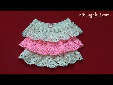 Crochet Ruffle Skirt Tutorial (Eng Sub) L Móc Chân Váy Len Hoa Văn Trái Dứa