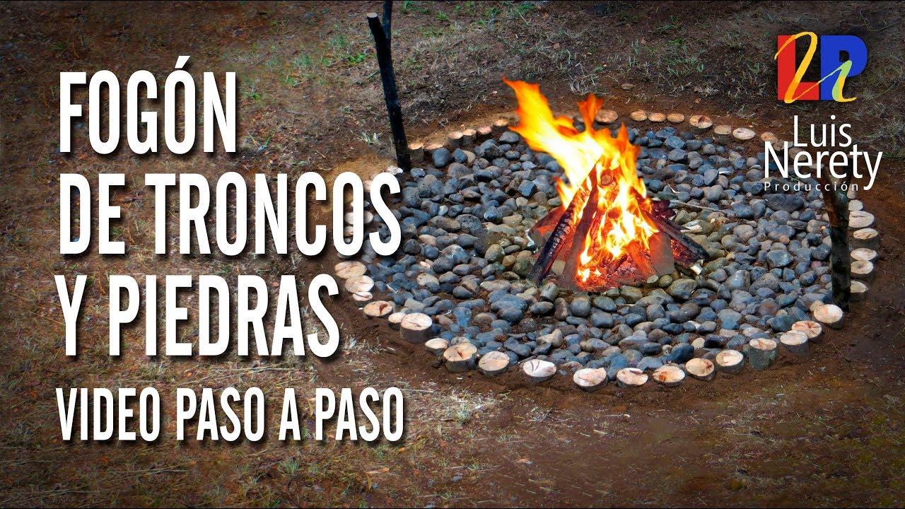 Fogon de troncos y piedras youtube for Fogones rusticos en ladrillo
