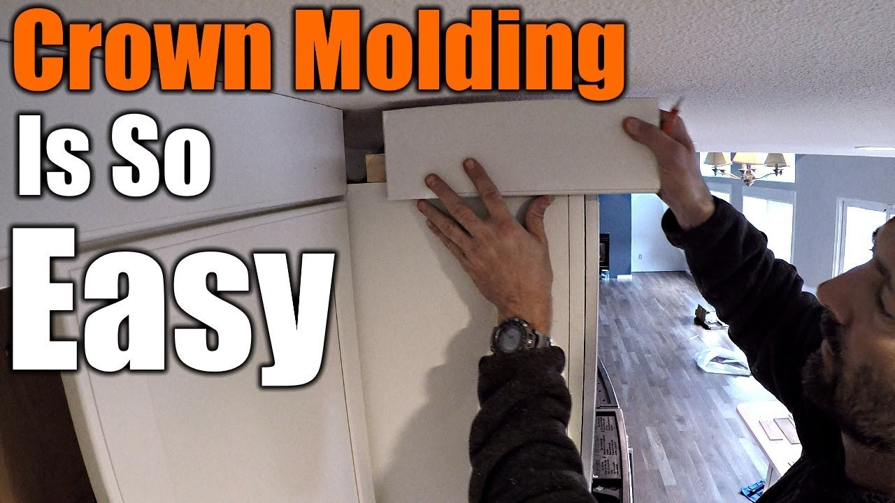 How To Install Crown Molding On Kitchen Cabinets - YouTube