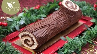 Bûche au chocolat de Noël facile (Biscuit roulé) - Evasion Culinaire by Naouel