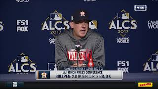 aj hinch reacts to game 4 loss in the bronx