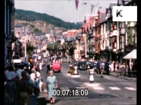 Mid 1950s Aberystwyth, Wales - beautiful street scenes, city centre, home movies