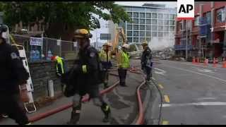 New Zealand Earthquake Aftermath: Collapsed Building; Vigil; Rescue Teams Working