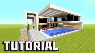 MINECRAFT: How to build a Modern House - Tutorial | Big Mansion House | Vanilla 2016 | 1.10