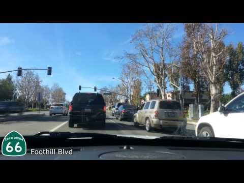 Driving along Route 66 - San Bernardino to Pasadena - Foothill Blvd