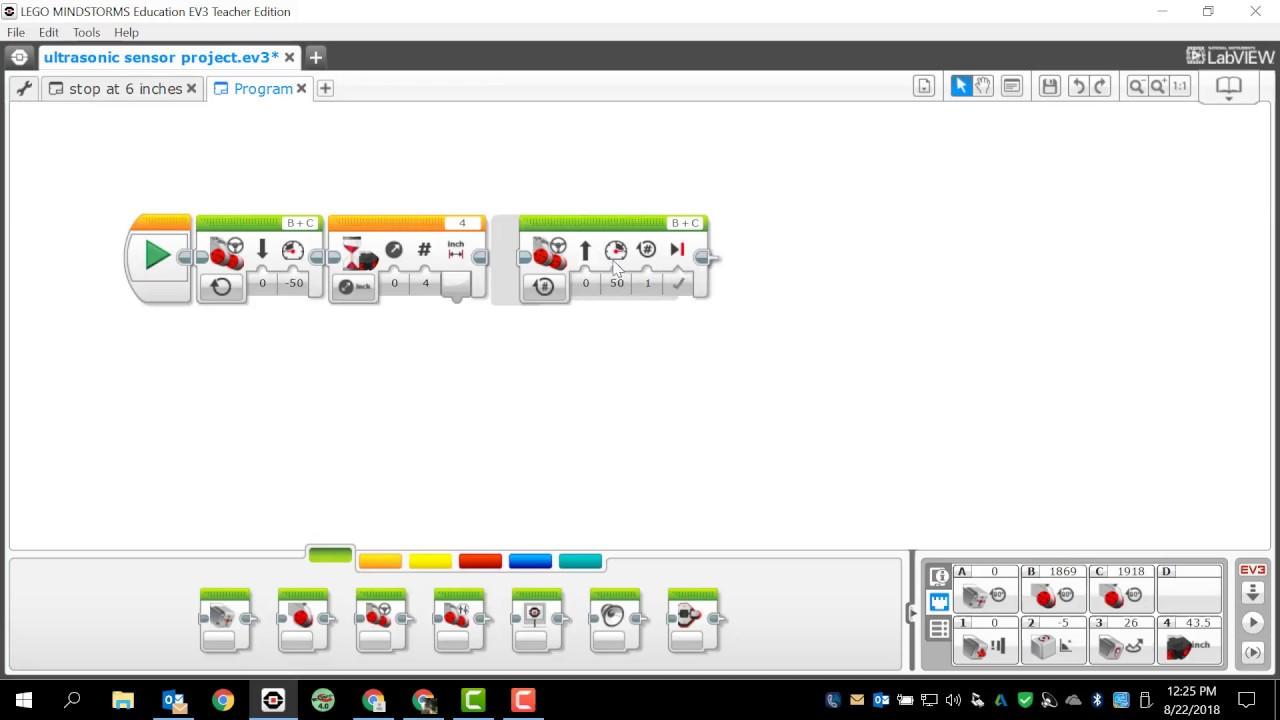 Lego Mindstorms EV3 Programming Ultrasonic Sensors