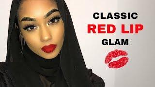 Classic red lip glam with bronze eyeshadow makeup tutorial   SABINA HANNAN