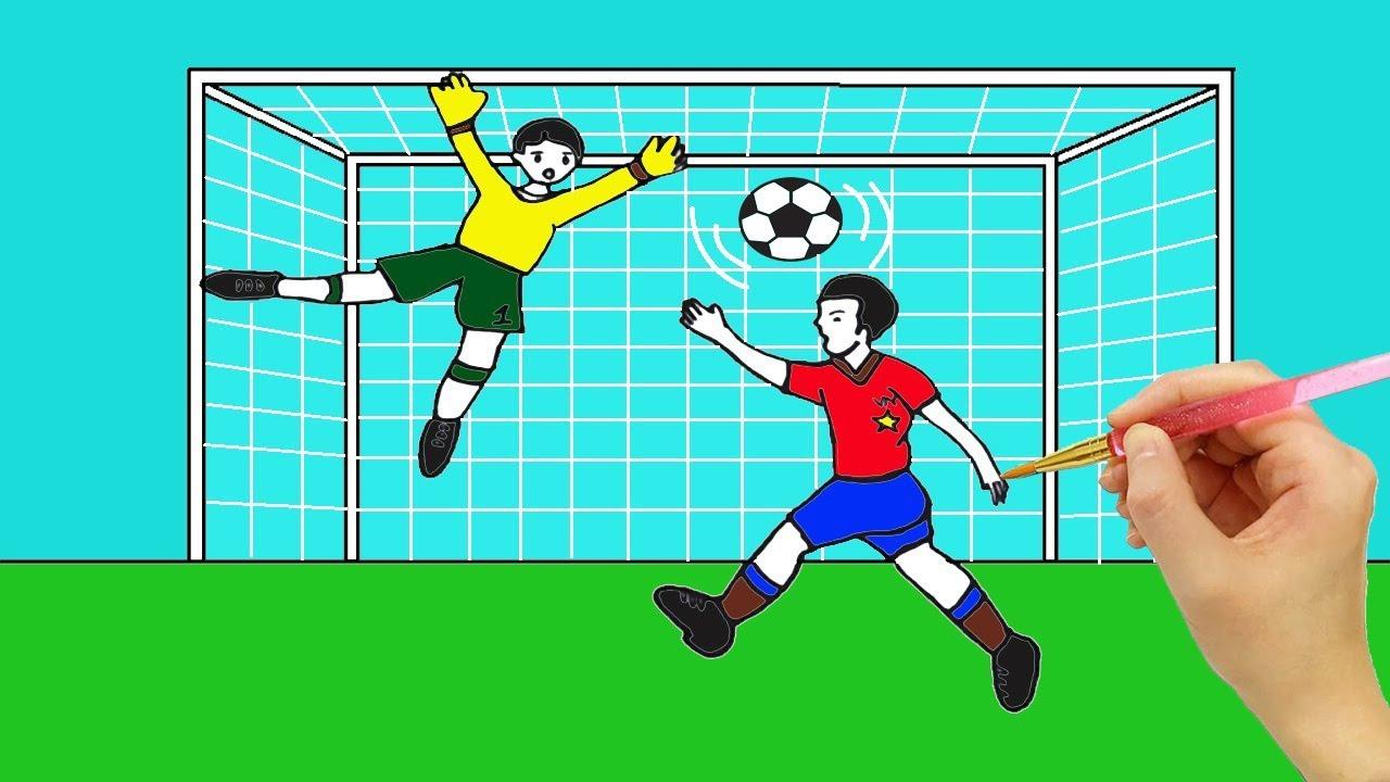 Vẽ tranh Cầu thủ Bóng Đá | How to draw Soccer Ball | Concung Channel