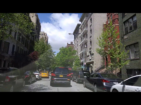 Driving by Upper West Side in Manhattan,New York
