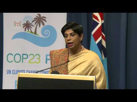 Fijian Chief Negotiator for COP 23 Ambassador Nazhat Shameem Press Conference.