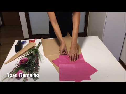 Gift Wrap Fresh Flowers Into A Kraft And Tissue Paper Cone