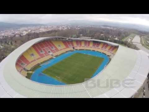 DJI Phantom 2 Aerial footage National Stadium Skopje