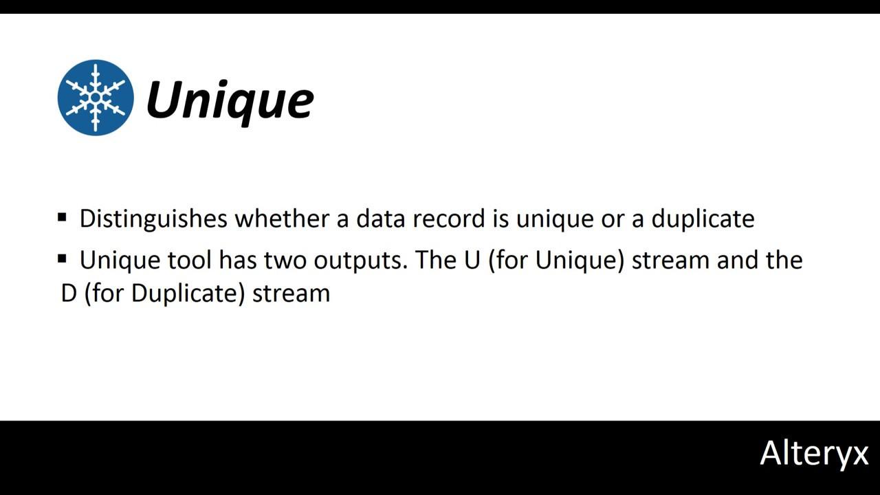 Alteryx Tutorial 18: Unique