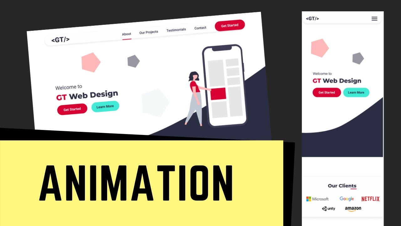Figma To HTML - One Page Website - CSS Animation For Header