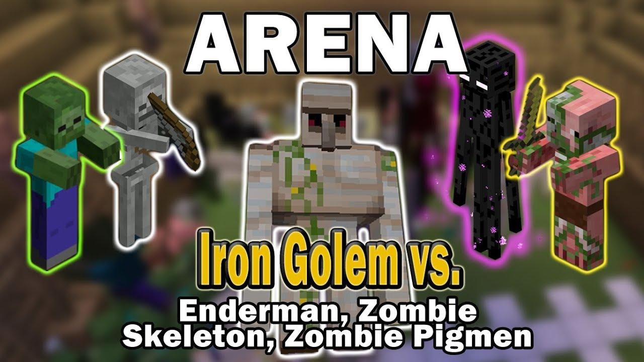 Minecraft Arena Battle Iron Golem Vs Enderman Zombie