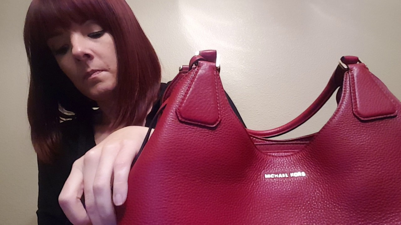 ca5cbefb9e6d REVIEW of MICHAEL KORS camille large cherry red shoulder bag purse satchel  hobo tote