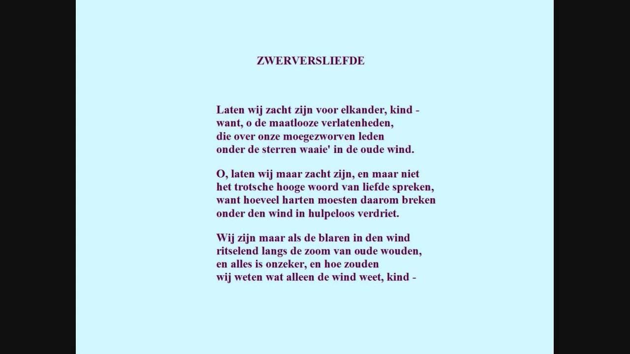 Adriaan Roland Holst Gedicht Zwerversliefde