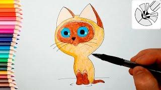 Как нарисовать котенка по имени Гав карандашом - Рисование и раскраска для детей(Развивающее видео для детей. В этом видео я показываю как нарисовать котенка по имени Гав карандашом - персо..., 2016-05-27T11:21:58.000Z)