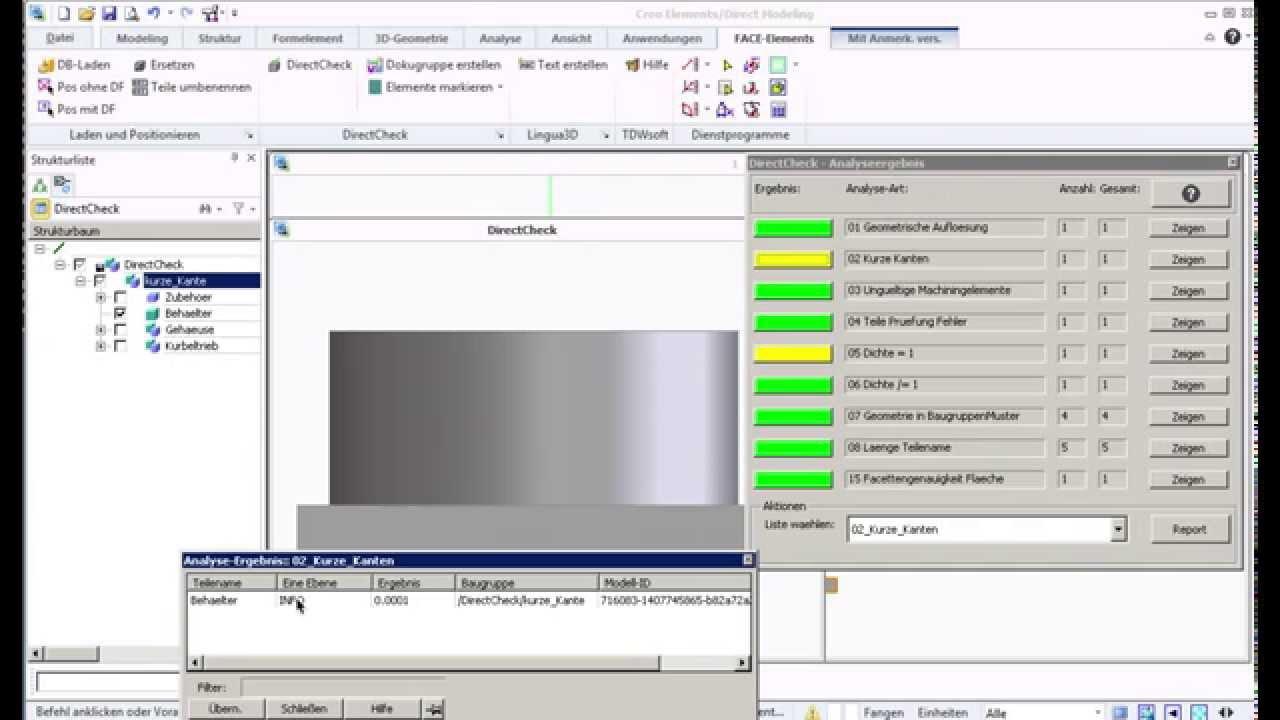 Creo Elements/Direct Modeling - DriectCheck Kurze Kanten finden - YouTube