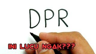 Gambar cover Cara menggambar kata DPR jadi gambar LUCU