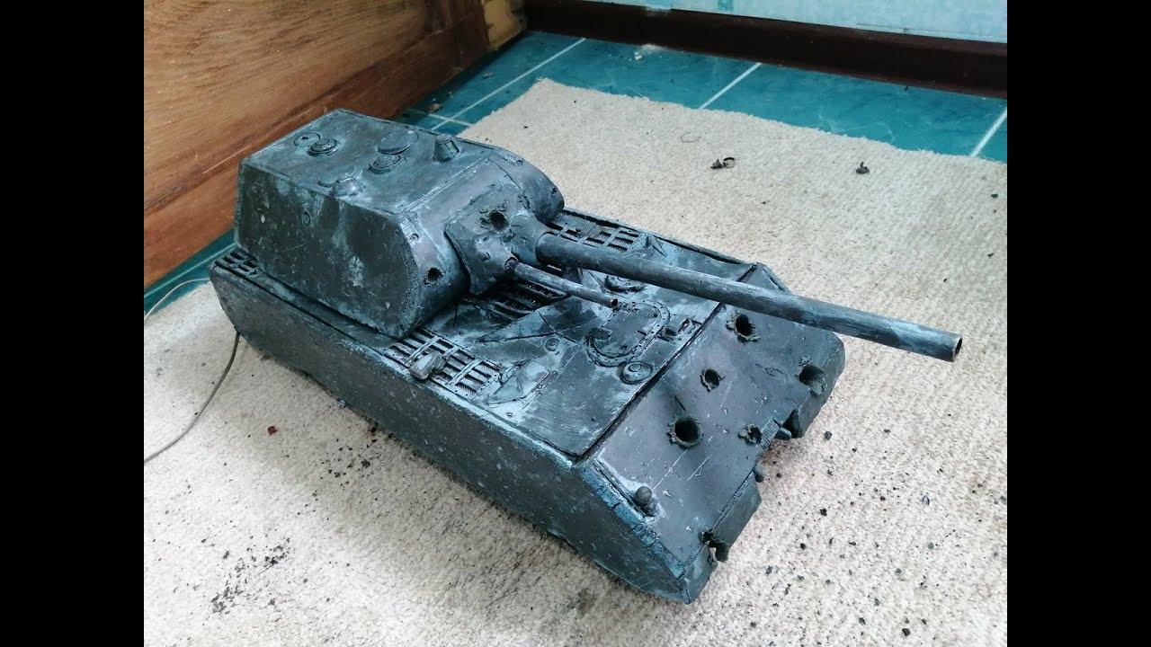 ломаю танк Маус из пластилина мощными каморниками и маленьким рпг