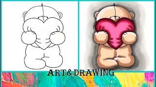 Как нарисовать милого мишку   ВАЛЕНТИНКИ   KAWAII   How to draw cute teddy bear   Valentine's Day
