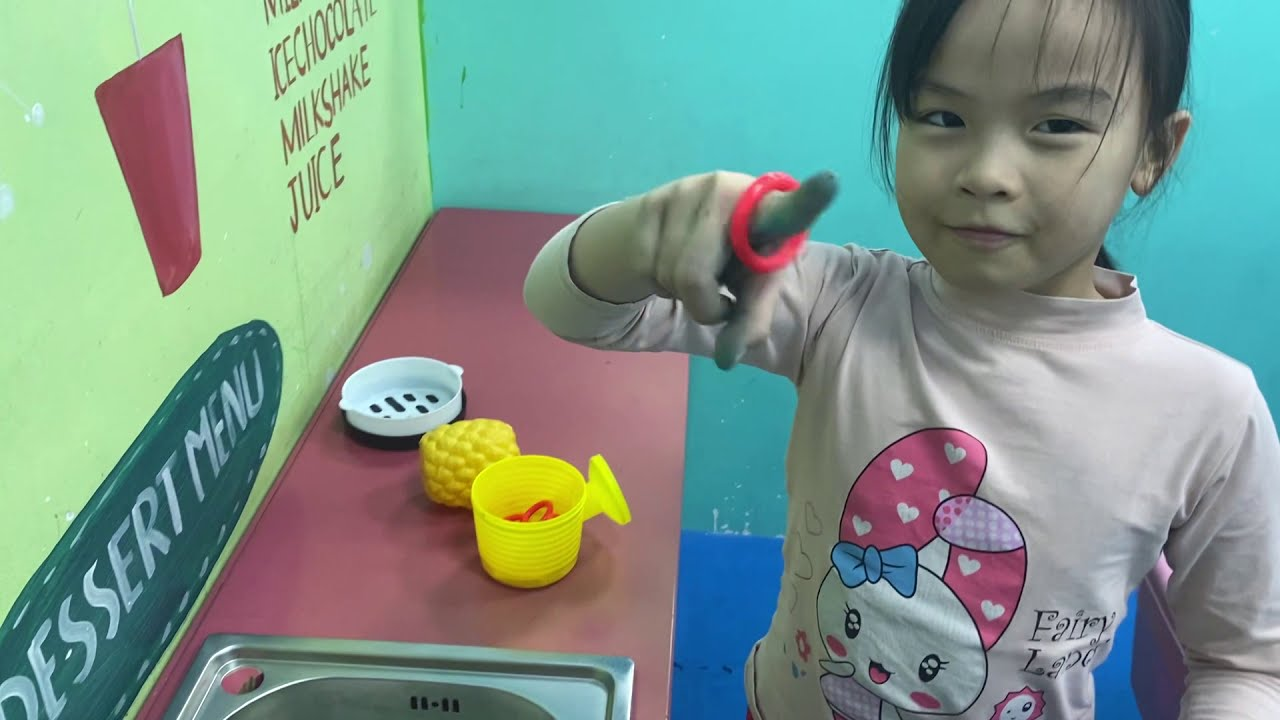 Indoor playground for kids and toys chicken with baby and children - family fun for kids.