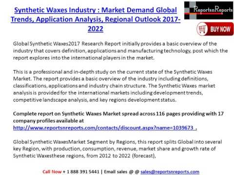 Synthetic Waxes Market: Global Industry Size, Demand, Trends and 2022 Future Report