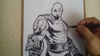 COMO DIBUJAR A KRATOS DE GOD OF WAR / how to draw a kratos god of war