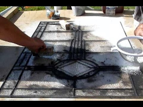 grouting a leaded panel