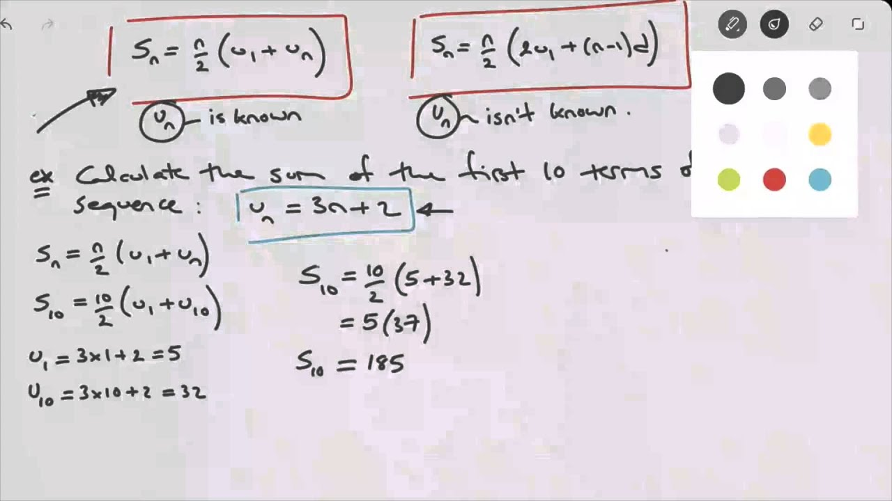 Calculating the sum of the first n terms of an arithmetic