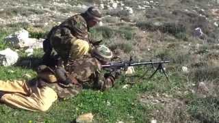 Firing the World War II German MG34 machine gun.